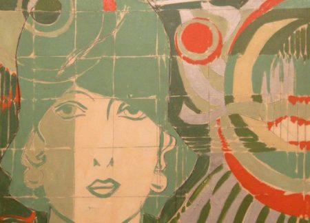 Fioroni-Giosetta-Donna-con-cappello-in-un-paesaggio-geometrico-1966-smalto-su-tela-620x388