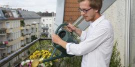piante-di-innaffiatura-del-giovane-sul-balcone-56309169