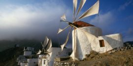 Windmills; Olympos village; Karpathos; Dodecannese; Greece.